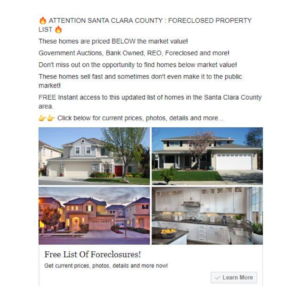 Real Estate Foreclosure Facebook Ads