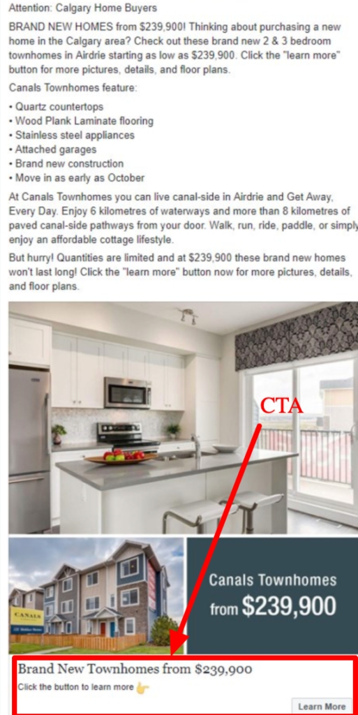CTA real estate example on facebook