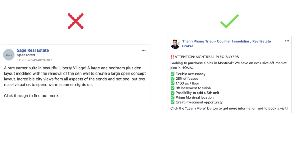 real estate Facebook ads copy