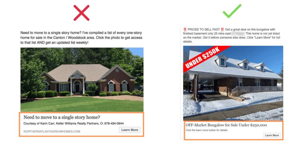 real estate Facebook ads headline