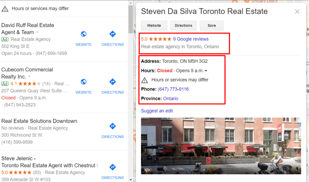 google my business page for realtors