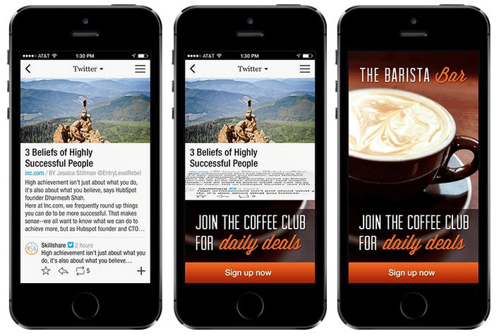 in-app native advertising example