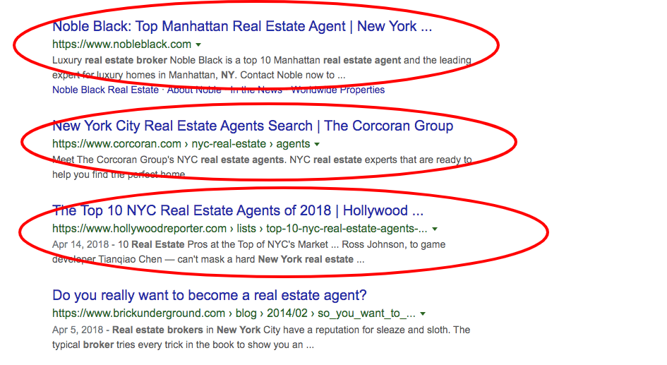 Real Estate agent new york Google search results