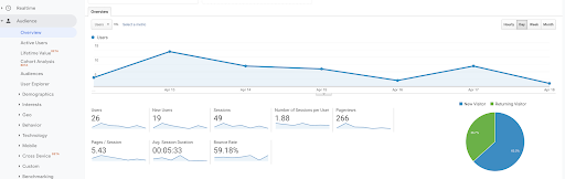 Google analytics interface