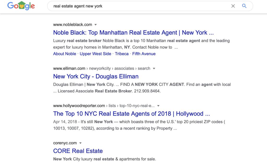 real estate google result
