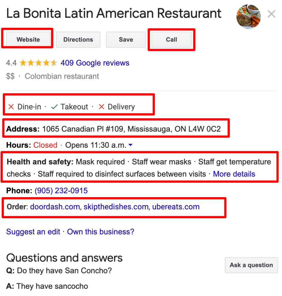 Google my business fields